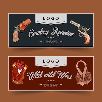 Cowboy banner with revolver, cowboy outfit