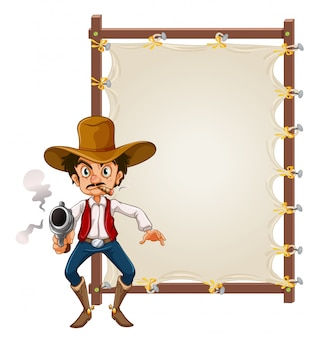 A cowboy on blank banner