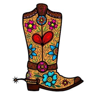 Ковбойские сапоги с цветочным узором. элемент дизайна для плаката, футболки, эмблемы, знака.