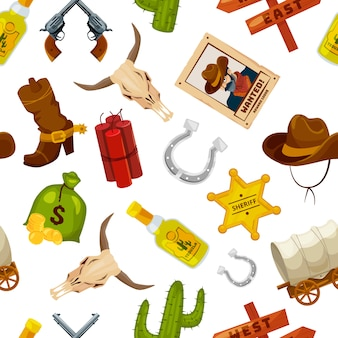 Cowboy, boots, guns and other wild west objects in cartoon style. vector seamless pattern wild west concept with gun and cactus, star and horseshoe illustration