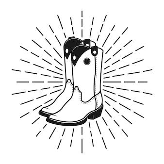 Ковбойские сапоги этикетка, эмблема или штамп с винтажной иллюстрацией лучей