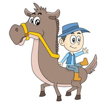 당나귀를 타고 카우보이 소년. 만화 삽화 스티커 이모티콘