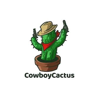 Cowboy cactus desert with hat Premium Vector