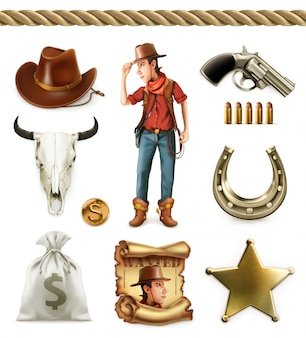 Cowboy cartoon character and objects. western adventure.