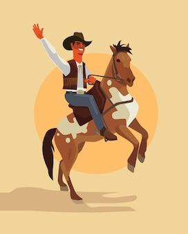 Ковбойский персонаж ездит на лошади.