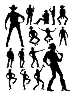 Cowboy and cowgirl detail silhouette