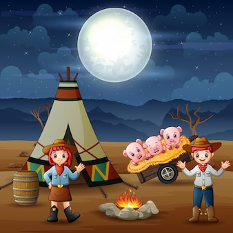 Cowboy and cowgirl and pigs at campsite at night illustration