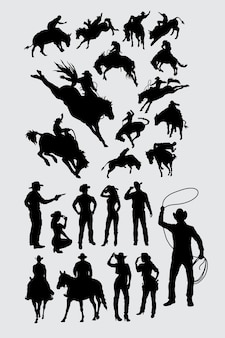 Cowboy cowgirl and rodeo sport silhouette