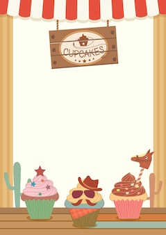 Cowboy cupcakes party menu template for vertical
