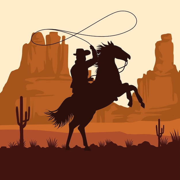 Cowboy figure silhouette in horse lassoing in the sunset landscape scene