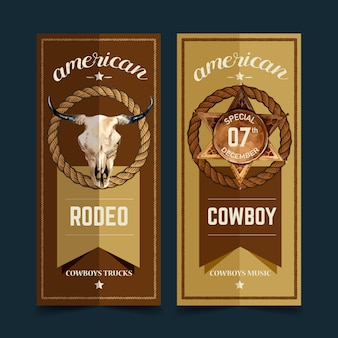 Cowboy flyer with cow skull, badge, rope