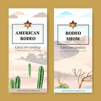 Cowboy flyer with desert plants