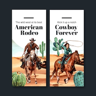 Cowboy flyer with horse, cactus, desert