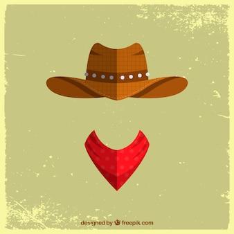 Концепция ковбойской шляпы и шарфа
