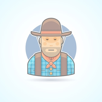 Cowboy in a hat and jacket, an american animal helder icon. avatar and person illustration.  colored outlined style.
