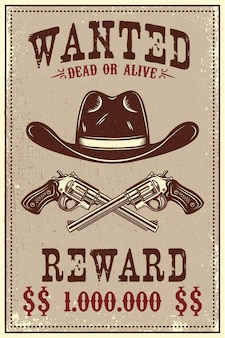 Cowboy hat and revolvers on grunge background