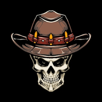 Cowboy hat skull illustration design