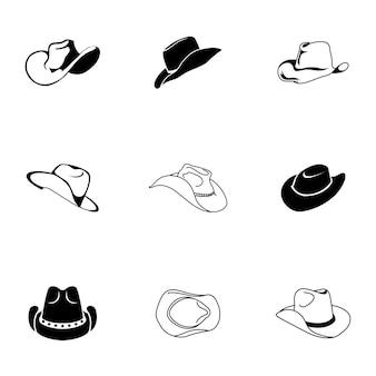 카우보이 모자 벡터 집합입니다. 간단한 카우보이 모자 모양 그림, 편집 가능한 요소는 로고 디자인에 사용할 수 있습니다.