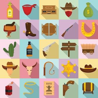Cowboy icons set, flat style