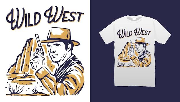 Дизайн футболки иллюстрации ковбоя