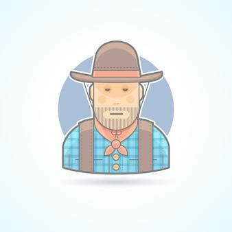 Ковбой в шляпе и куртке, значок помощника американских животных. аватар и иллюстрация человека. цветной очерченный стиль.