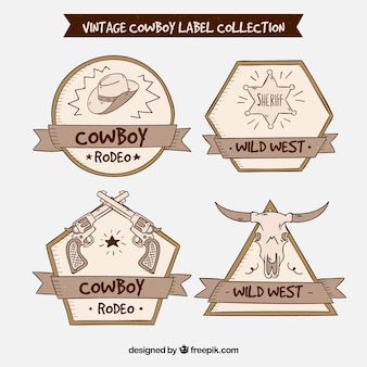 Cowboy label collection of four