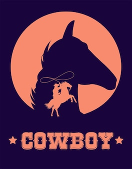 カウボーイ投げ縄と馬の頭と野生の西のポスターでカウボーイのレタリング