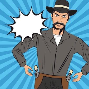 카우보이 남자 만화 디자인