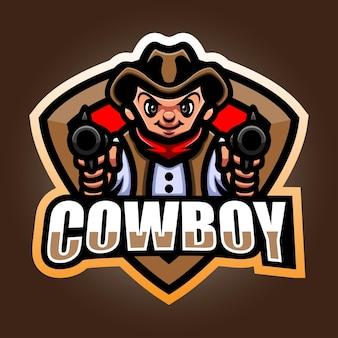 Ковбойский талисман киберспорт дизайн логотипа