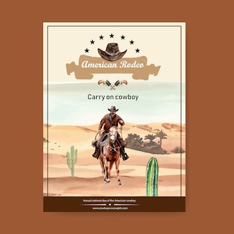 Cowboy poster with american rodeo
