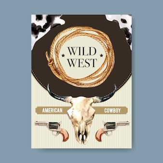 Cowboy poster with cow skull, revolver