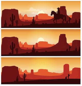 Cowboy riding horse against sunset background