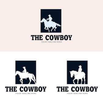 Cowboy riding horse silhouette logo design