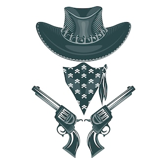 Cowboy set. hat, revolvers and mask.
