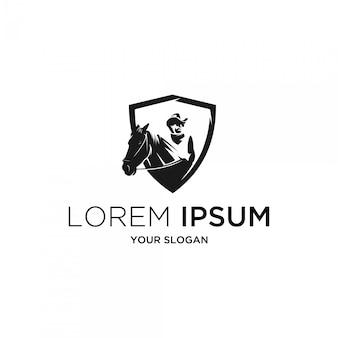 Ковбой силуэт с логотипом щита