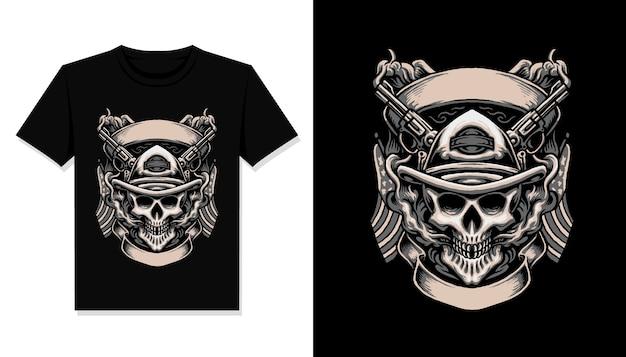 Cowboy skull illustration t shirt