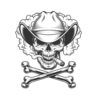 Cowboy skull smoking cigar