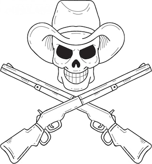Cowboy skull with crossed shotgun