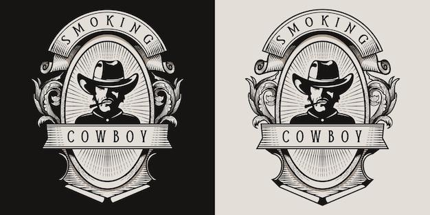 Ковбой курить винтажный логотип