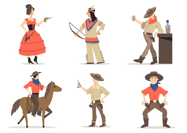 Cowboy stories characters set. traditional wild west residents, red indians, rodeo guy with lasso riding horse, sheriff drinking whiskey in saloon. for american culture, tradition, history