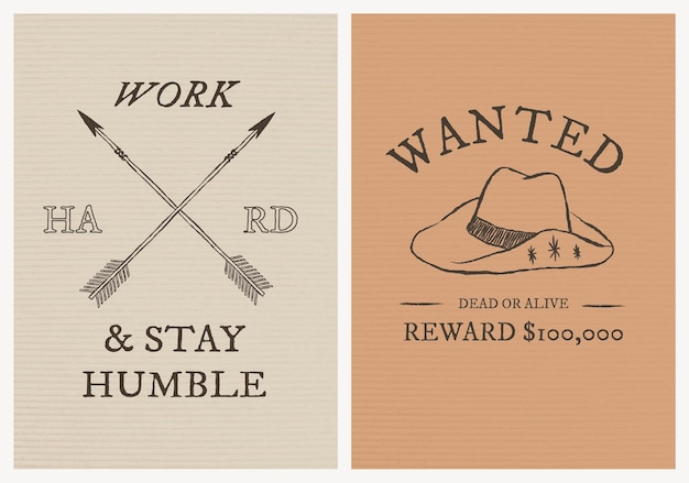 Cowboy themed poster template vector with editable text set
