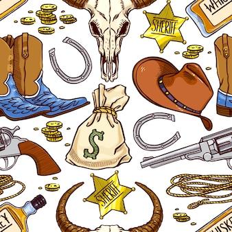 Cowboy themed seamless pattern