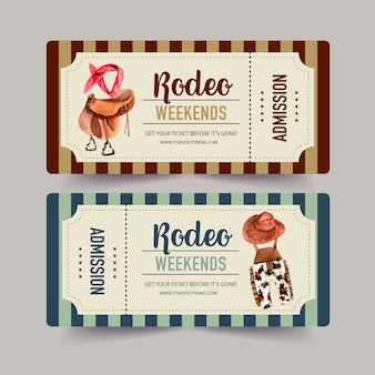Cowboy ticket with saddle, headband, dungarees, hat