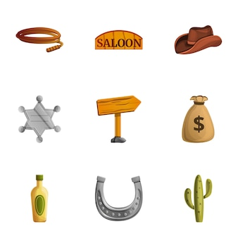 Cowboy tools set, cartoon style
