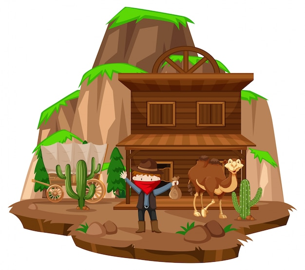 Cowboy town with robber and camel