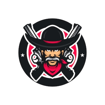 Cowboy vector mascot icon illustration