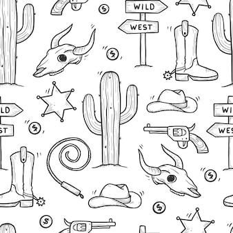 카우보이 서양 낙서 완벽 한 패턴입니다. 손으로 그린 스케치 선 스타일입니다. 카우보이 신발, 암소 두개골, 총, 선인장 요소. 와일드 웨스트 벡터 일러스트 레이 션.