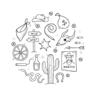 カウボーイウエスタン落書きセット。手描きのスケッチ線のスタイル。カウボーイハット、牛の頭蓋骨、銃、サボテンの要素。野生の西のベクトル図。