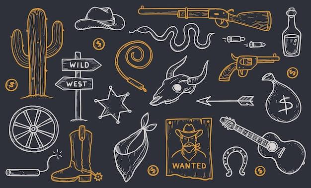 카우보이 서부 낙서 세트. 손으로 그린 스케치 선 스타일입니다. 카우보이 모자, 암소 두개골, 총, 선인장 요소. 와일드 웨스트 벡터 일러스트 레이 션.
