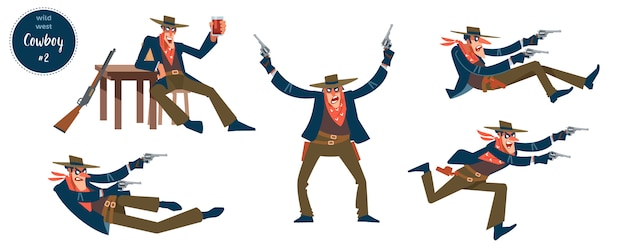 Cowboy   with flat human charactervarious persons in different situations with cartoon pictograms